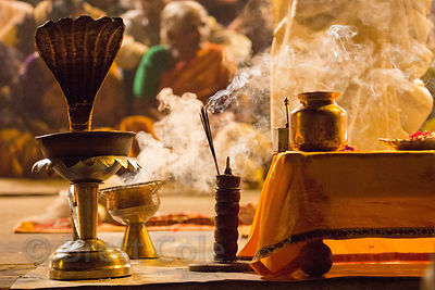 Ganga Aarti evening prayers to the Ganges River, Dashashwamedh Ghat, Varanasi, India
