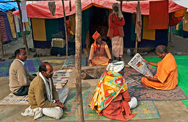 This photograph of the pilgrims resting was shot during the Kumbh Mela, Allahabad