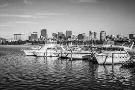 Boston Skyline Boats Black and White Photo