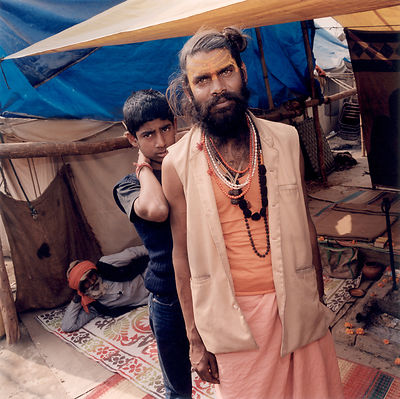 Two pilgrims at the Kumbh Mela