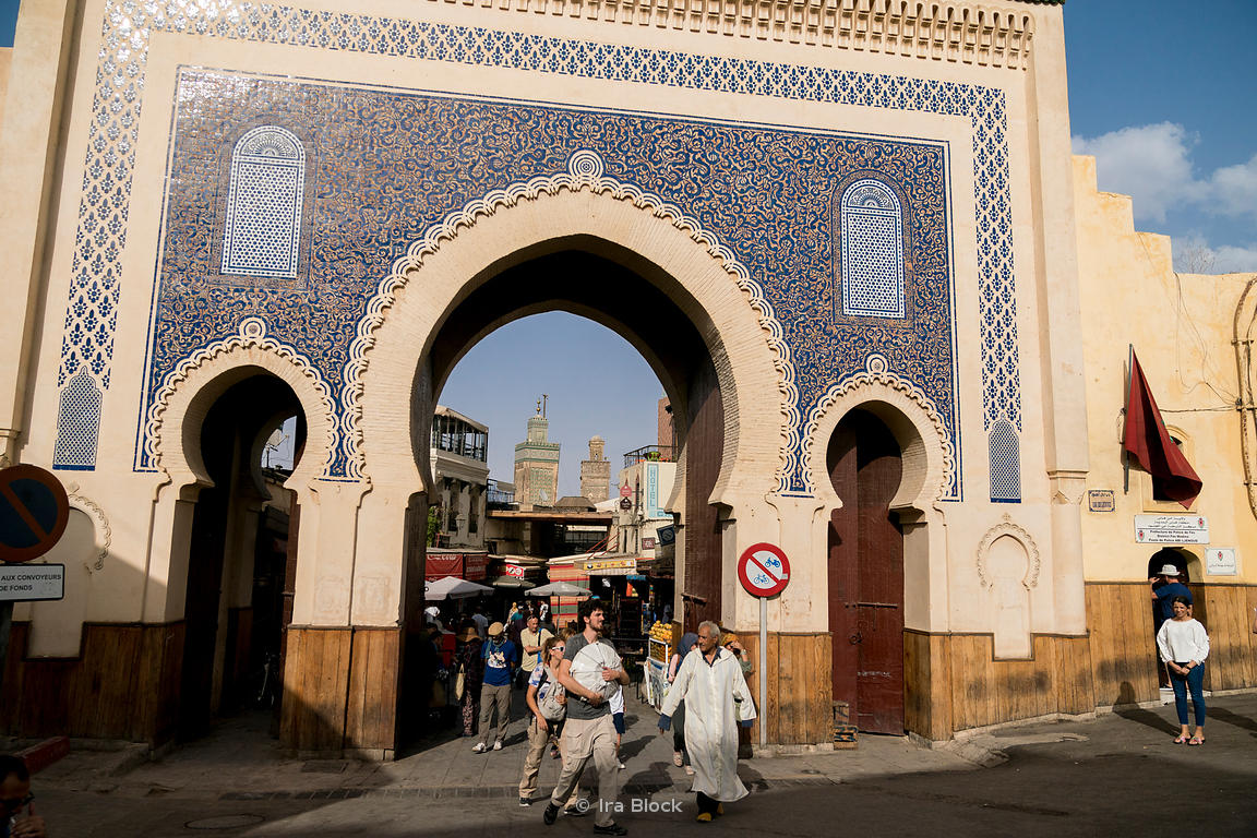 A scene at Bab Bou Jeloud in Fes, Morocco.