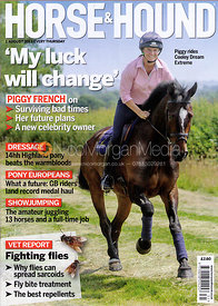 Piggy French photographed for the cover of Horse & Hound 1st August 2013