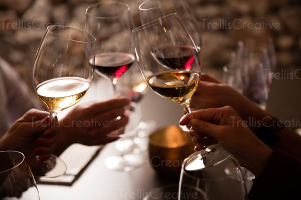 Close-up of people raising their glasses to a toast with red and white wine