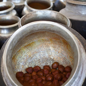 Details of prepared Rista  in pots at a Wazwan, Srinagar, Kashmir, India