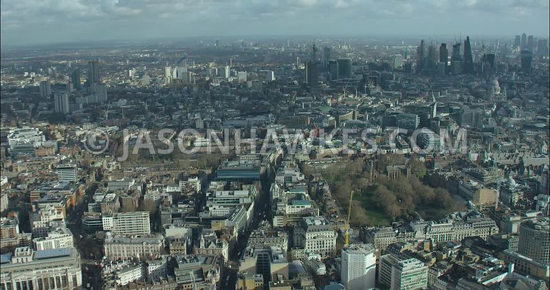 London Aerial footage, Lincoln's Inn Fields towards St Paul's Cathedral.