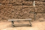 Rickerty old stool out side a home. Rwanda