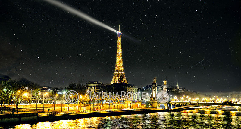 Night view on Eiffel Tower & Pont Alexandre III; Paris, France