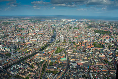 Aerial view of the River Liffey, Dublin, Ireland