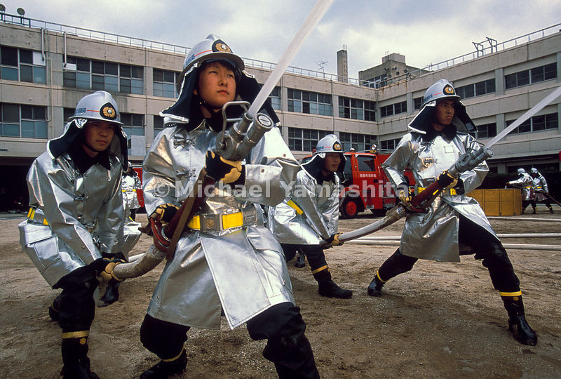 A samurai look endures in Kyoto, where fire department trainees in warrior-like headgear practice their skills. During peacetime, samurai pitched in as firefighters and took jobs as police, their legendary bravery and discipline putting them in demand.