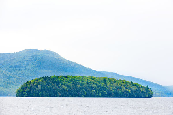 LAKE GEORGE FROM SAGAMORE GREEN ISLAND ADIRONDACK MOUNTAINS COLOR