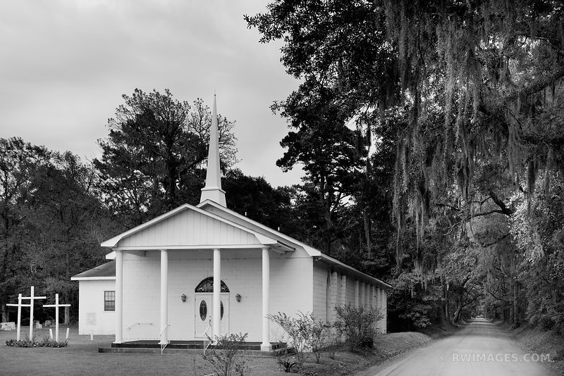 RURAL CHURCH EDISTO ISLAND SOUTH CAROLINA BLACK AND WHITE