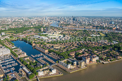 Aerial view of London, Greenland Dock and South Dock with  River Thames.