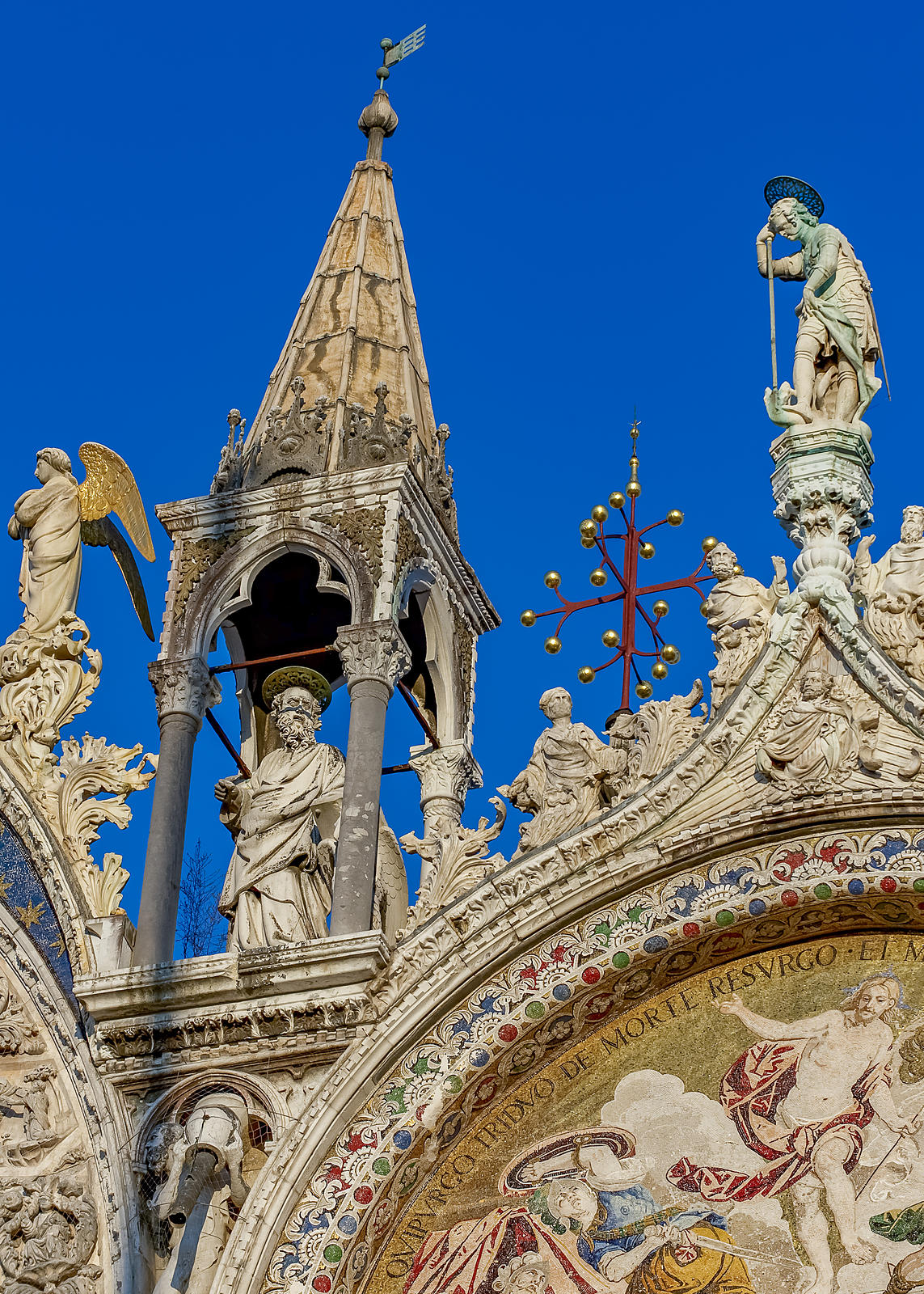 Detail of the Tetrarch Carved Statues on top of the Basilica di San Marco, Venice