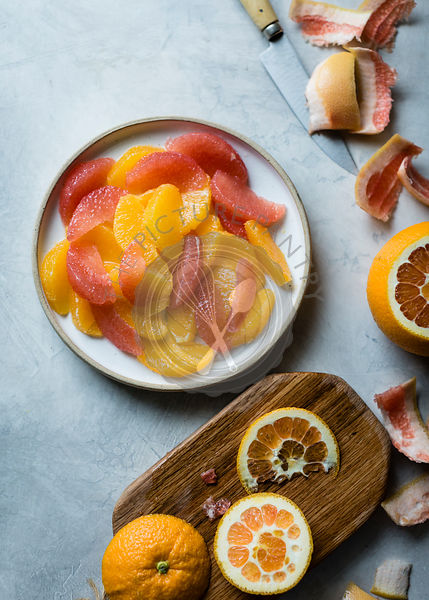 winter citrus fruits, oranges and grapefruit segements