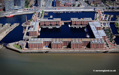aerial photograph of Albert Dock Liverpool Merseyside England UK