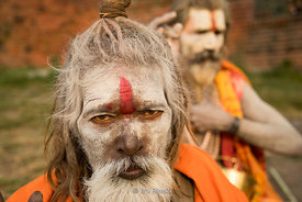 Holy men at the Pashupatinath Temple on the banks of the Bagmati River in Kathmandu, Nepal.