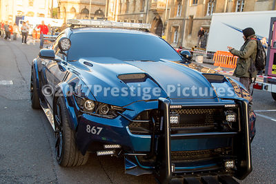 Ford Mustang police car (Barriacde) during filming for Transformers 6
