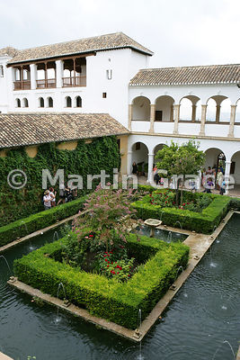 Looking over the Patio del Cipres (Cypress Courtyard) to the West Pavilion of the Generalife, Granada, Andalusia, Spain