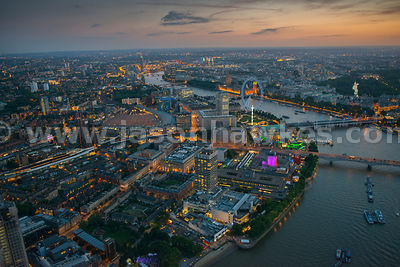 Aerial view of The Southbank and Waterloo at night, London