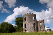 Ruined tower of Shanes Castle on the shores of Lough Neagh, Antrim, Northern Ireland.