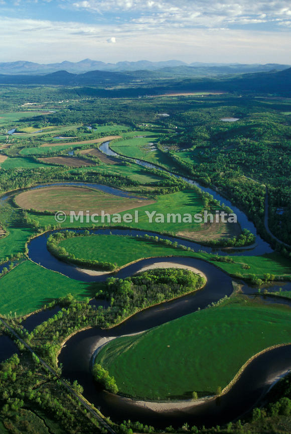 Aerial view of the Connecticut River in Northeast Kingdom, Vermont in the spring.