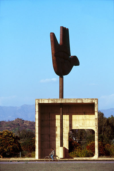 India - Chandigarh - The Open Hand statue in Chandigarh