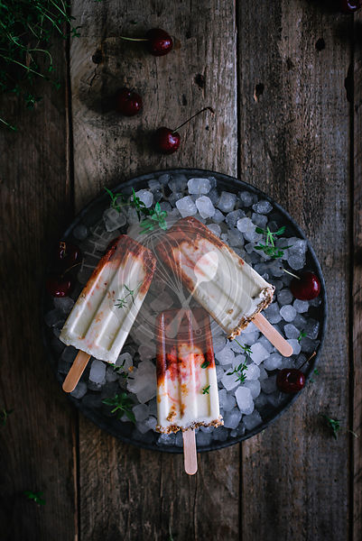 Greek yogurt popsicles with cherries