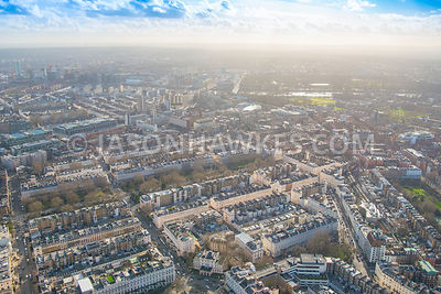 Aerial view of Belgravia from Belgrave Square towards Chelsea and Pimlico, London.