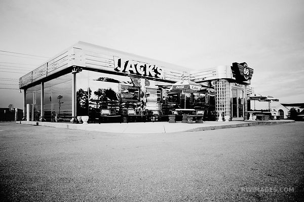 JACK'S DINER ROUTE 66 MISSOURI BLACK AND WHITE