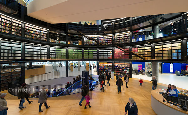 The interior of the new Library of Birmingham, England.