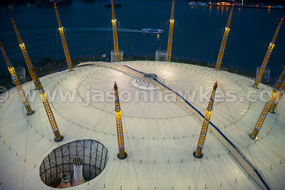 O2 Arena, London. Night aerial view