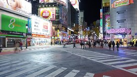 Close Up: 180 Degree Pan Of Shibuya Crossing