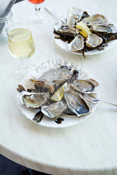 Raw oysters served in a french restaurant