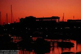 Soldier Field and harbor, Chicago, sunset