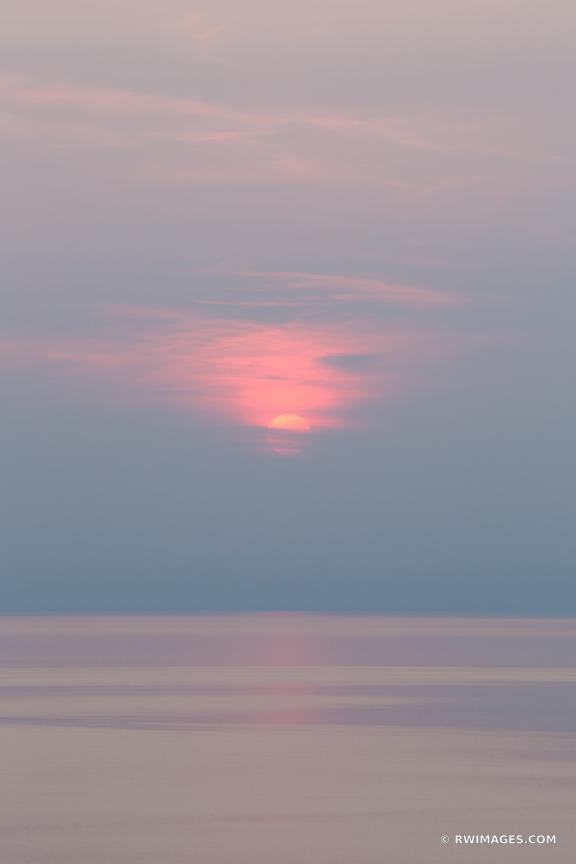 LAKE MICHIGAN SUNSET SLEEPING BEAR DUNES MICHIGAN COLOR VERTICAL