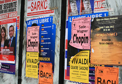 Street posters and signs, Paris, France