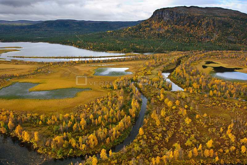 Aerial view of forests and mountains, Sarek National Park, Sweden, Autumn.