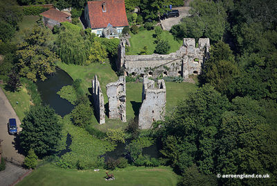 aerial photograph of  Mettingham Castle Suffolk England UK.