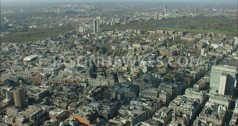 London Aerial Footage of Fitzrovia towards Cavendish Square.