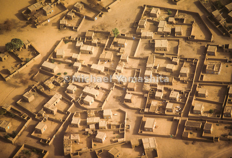 An aerial view of a Sudanese village.