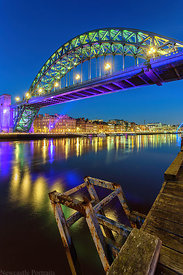 Tyne Bridge at night.
