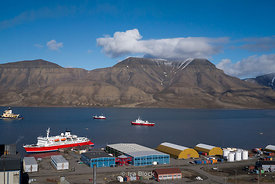 Overlooking Advent Bay in Longyearbyen located on the western coast of Spitsbergen, Norway.