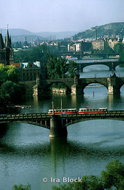 Trolley on bridge, Vltava River, Prague, Czechoslovakia