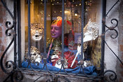 Shop WIndow with colourful Carnival Masks in Venice