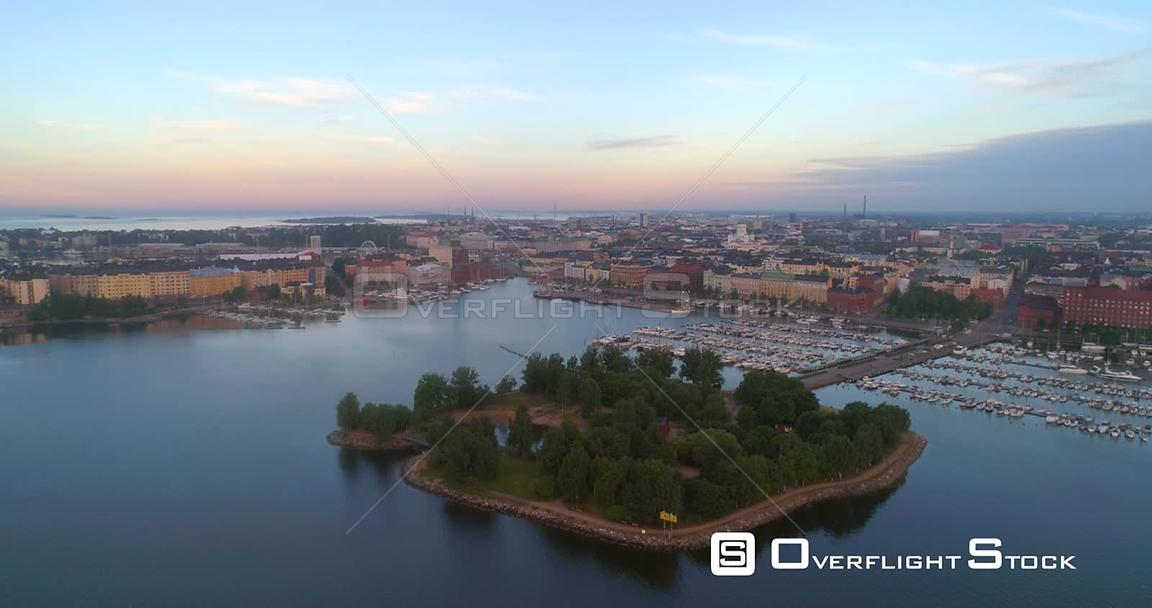 Sunrise City, Aerial View Over Tervasaari Island and Towards the Cityscape and the Cathedral of Helsinki, on a Sunny Summer Morning Dawn, in Helsingfors, Uusimaa, Finland