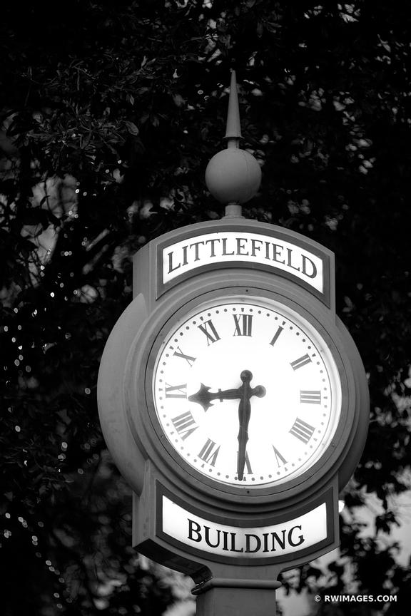 LITTLEFIELD BUILDING CLOCK AUSTIN TEXAS BLACK AND WHITE