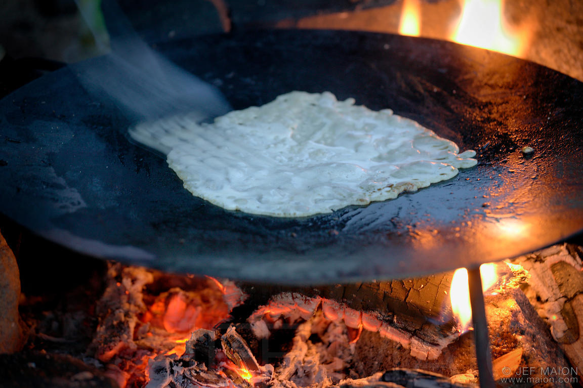 Pancakes over camp fire