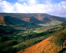 Vale of Ewyas from Hatterall Hill, Black Mountains, Brecon Beacons National Park, Powys, Wales,
