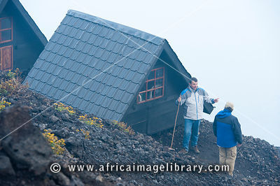 Wooden shelter on Nyiragongo Volcano, Virunga National Park, DR Congo