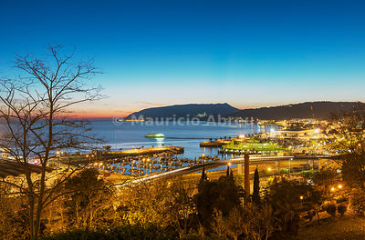 Setúbal and the Sado river with its bay, belonging to the UNESCO Club of the Most Beautiful Bays in the World. The Arrábida Nature Park in the background. Portugal